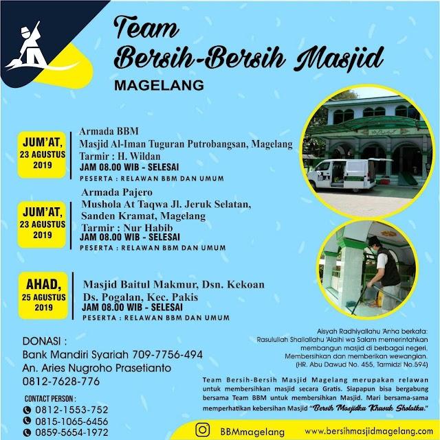 Bergabunglah dalam Kegiatan Bersih-Bersih Masjid Al-Iman Tuguran, Potrobangsan dan Musholla At-Taqwa Sanden kota Magelang