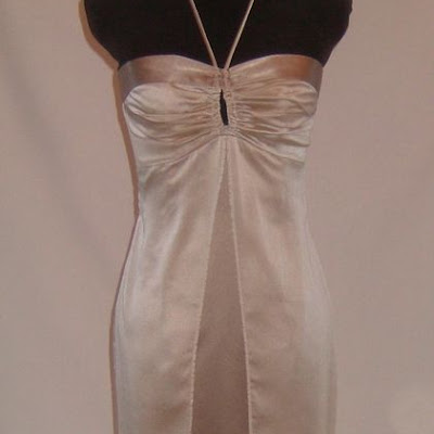 Sue's bridesmaid - Satin and chiffon gown with straight skirt and gathered bodice.