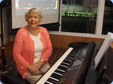 Marlene Forrest playing the Club's Clavinova. Photo courtesy of Dennis Lyons.