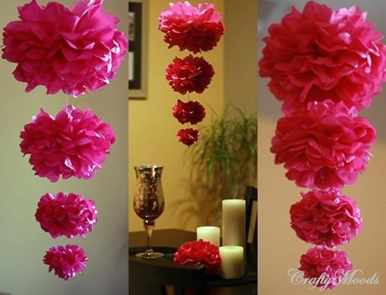 M s y m s manualidades decoraciones con pompones de papel - Decoracion con pompones ...