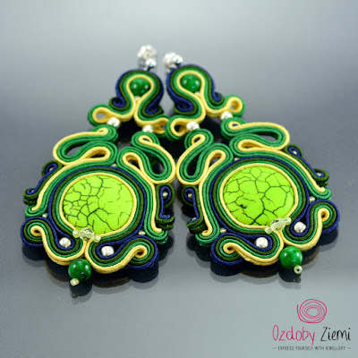 Green Soutache Earrings by Ozdoby Ziemi
