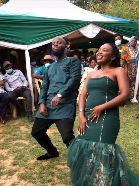 Fastest arising online comedian and content creator Esther Kazungu wedding photo