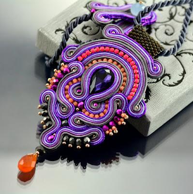 Violet Soutache Pendant  by Ozdoby Ziemi