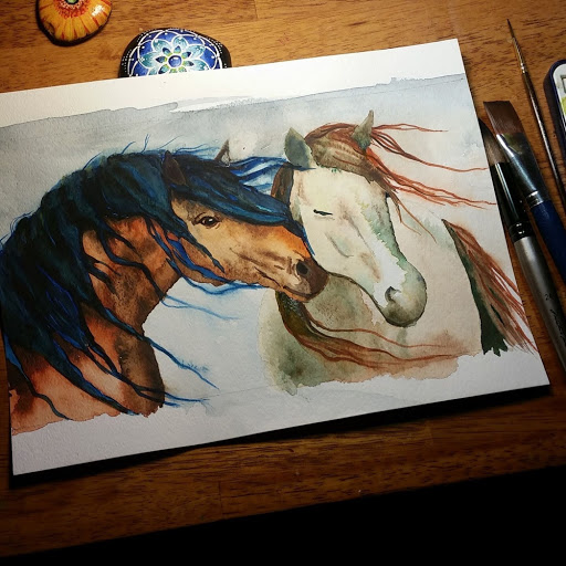Nuzzling Horses watercolor painting by Cheryl Casey