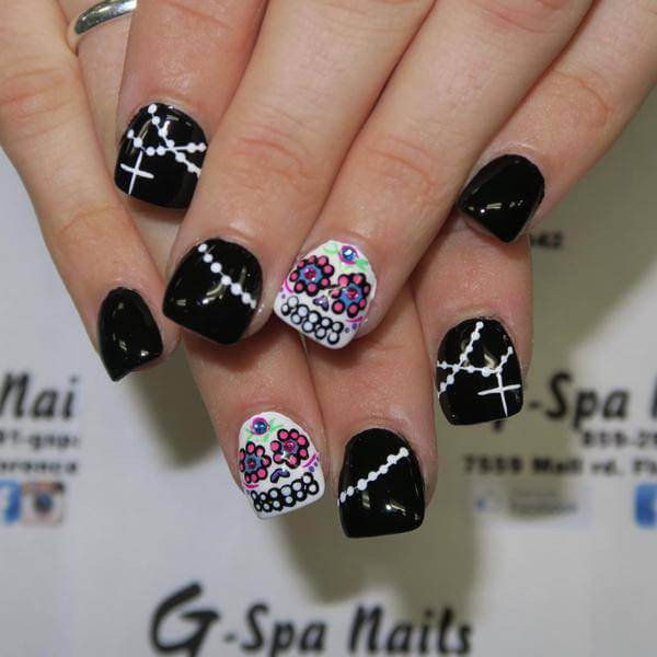 Western Sugar Skull Nail Art Designs for 2017 Sugar Skull Nail Art Designs  There's no college architecture that this one represented on the angel  above. - Western Sugar Skull Nail Art Designs For 2017 - Styles Art