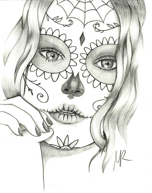 Girl Sugar Skull Coloring Pages American Things Coloring Page