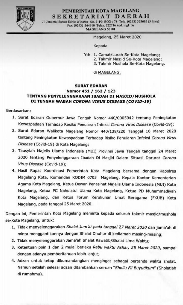 Surat edaran Pemerintah Kota Magelang tentang penyelenggaraan Ibadah di Masjid/ Musholla di tengah wabah Covid-19