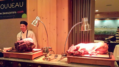Beaujolais Nouveau 2015 carving stations for Roast Leg of Beef and Slow Roasted Carlton Farms Pig