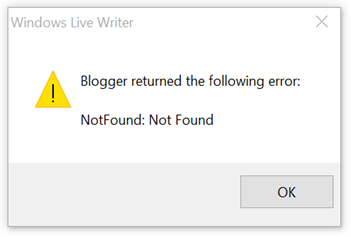 Windows Live Writer - Error Message