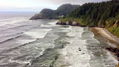 A look at Heceta Head Lighthous from a Scenic Viewpoint further south on 101 between the lighthouse and Sea Lion Caves
