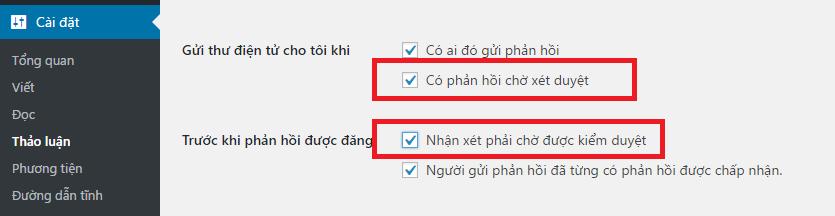 Hinh anh: Cau hinh nham kiem duyet binh luan va chan spam
