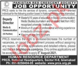 Pakistan Red Crescent Society PRCS Islamabad Jobs 2021