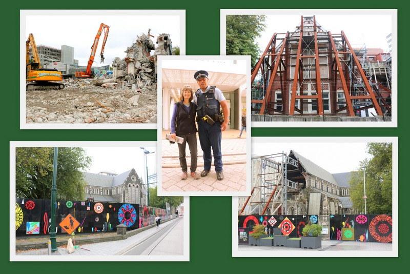 CENTRE CITY CHRISTCHURCH, NEW ZEALAND - SIX YEARS AFTER A HUGE GUT PUNCH  EARTHQUAKE. MY WIFE, LYNN, POSING WITH A MAORI POLICEMAN AMIDST THE CARNAGE.