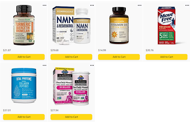 Screenshot of supplements listed in the post