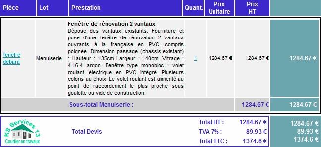 Fentres double vitrage prix latest prix fenetre double for Devis fenetre prix