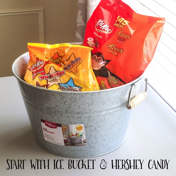 Galvenized Homes and Gardens Galvanized Bucket turned Halloween Candy Container