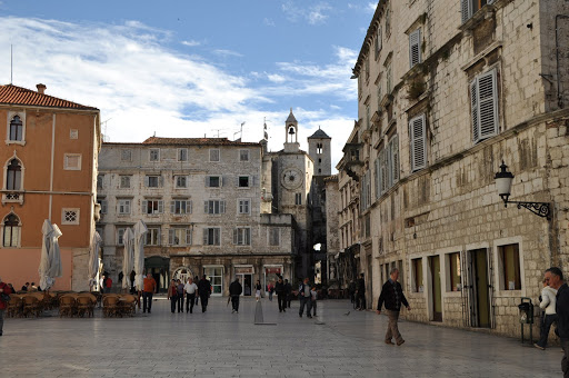 Inside Diocletian's Palace's walls; stores and homes have been built into the walls