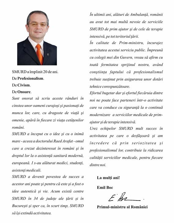 Mesajul premierului Emil Boc către SMURD la împlinirea a 20 de ani de activitate