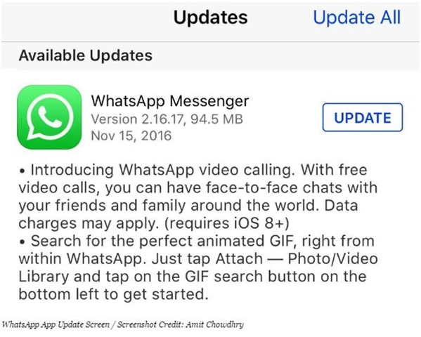 WhatsApp 2.16.17 iOS sudah dukung video calling