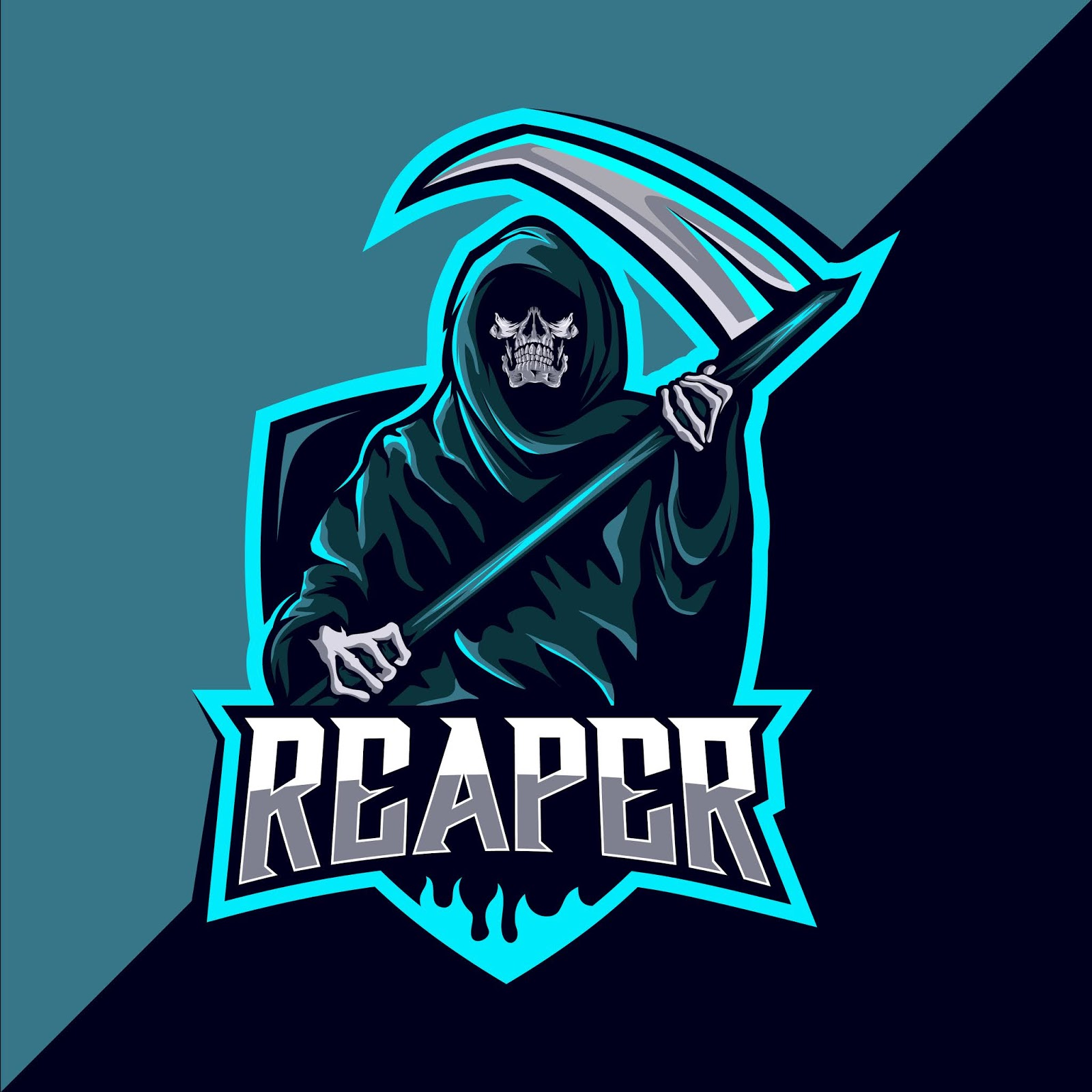 Reaper Skull Mascot Esport Logo Design Free Download Vector CDR, AI, EPS and PNG Formats