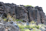 Looking up at a few more panels of petroglyphs.