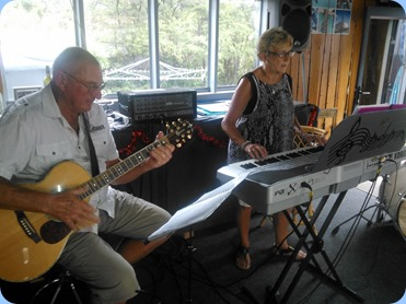 Our gracious hosts for the day, Jan and Kevin Johnston, giving a performance.
