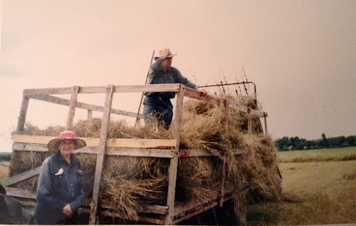 Man on a wagon of hay with woman in hat standing beside it.