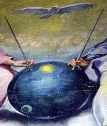 UFO or satellite in ancient artwork with antennas.