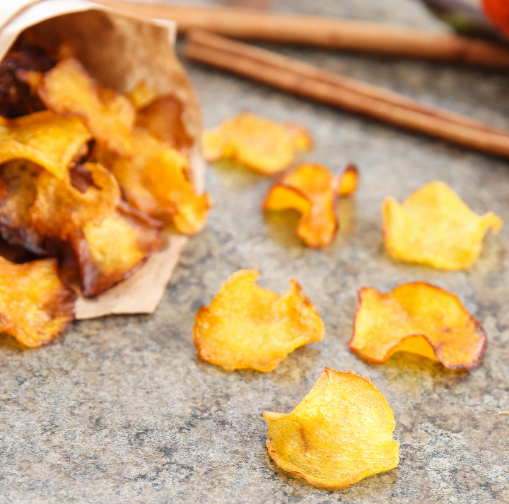 pumpkin chips This alternative to deep fried potato chips or roast pumpkin is a great way to eat pumpkin just add salt, pepper and cajun seasoning and bake until done.