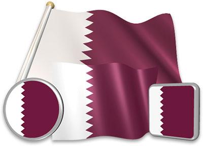 Qatari flag animated gif collection