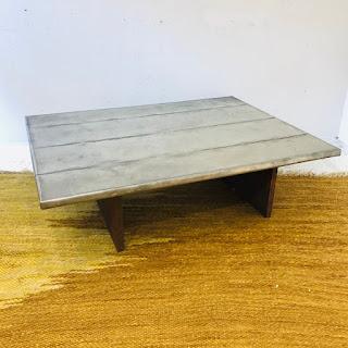 Brutalist Steel-Top Cocktail Table