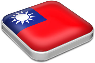 Flag of Taiwan with metallic square frame