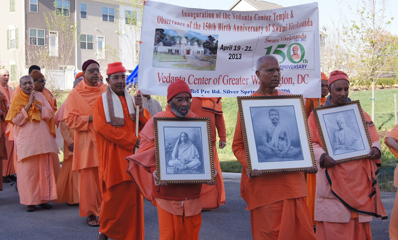Swamis Chetanananda, Shantarupananda, Aparananda carrying Sri Ramakrishna, Holy Mother, Swami Vivekananda