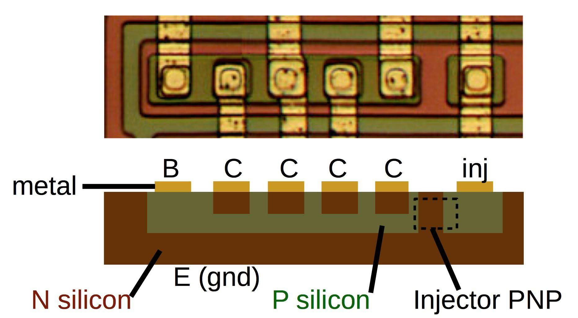 Inside The 76477 Space Invaders Sound Effect Chip Digital Logic Circuit Further Generator Likewise Die Photo And Cross Section Diagram Of An I2l Gate In Effects