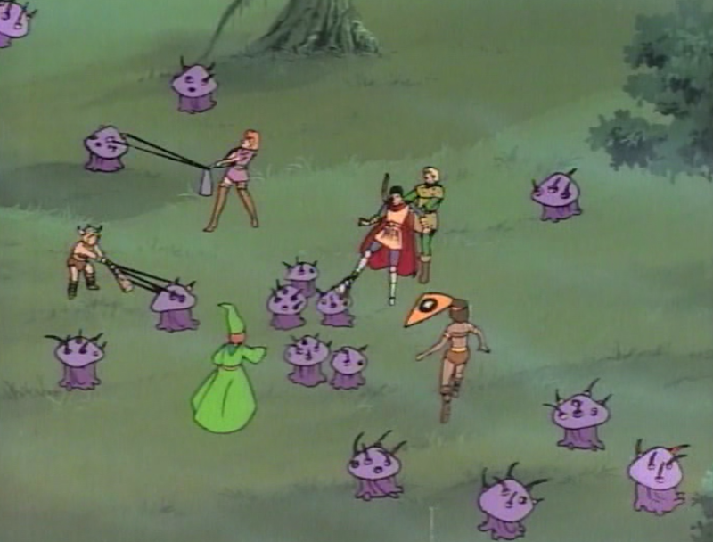 Violet fungi surrounding the heroes