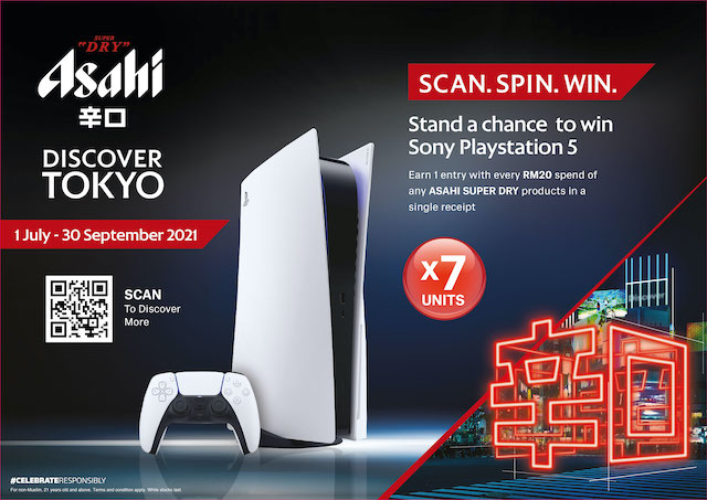Running now till 30 September 2021, Asahi's Discover Tokyo promotion will also offer beer lovers a chance to win a Sony PlayStation 5!