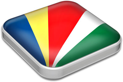Flag of Seychelles with metallic square frame