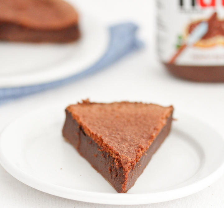 close-up photo of one slice of Flourless Nutella Cake
