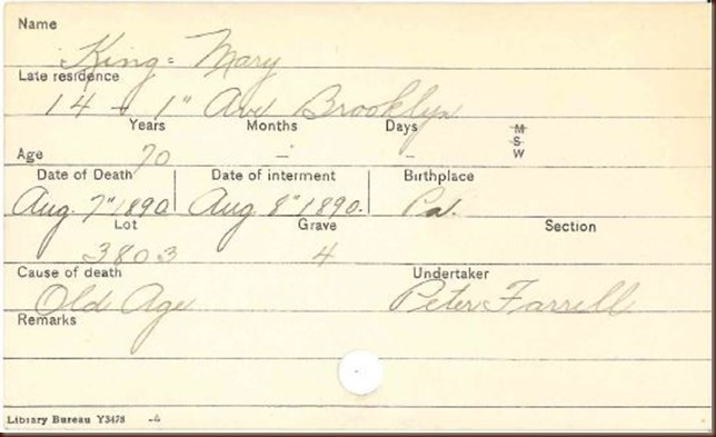 King Mary 1890 burial record