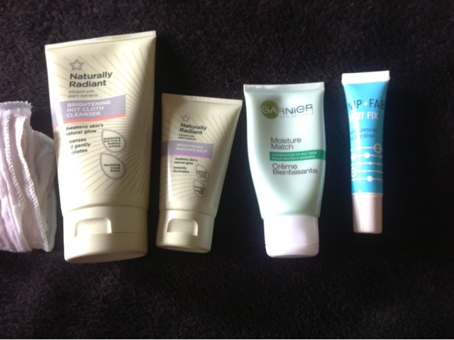 flat lay of skin care products from superdrug to nip fab