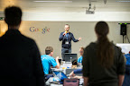 Danish researcher speaks to the hackers during EUhackathon 2014 at Googleplex in Brussels, Belgium on 02.12.2014