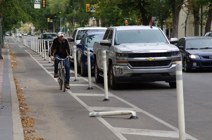 Broken bike lane in Saskatoon