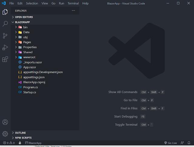 blazor app in vs code