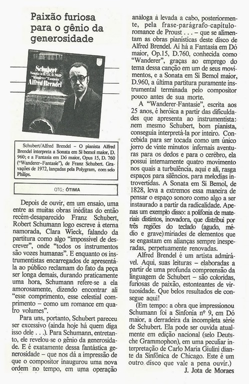 Alfred Brendel - Paixão furiosa para o gênio da generosidade  - J. Jota de Moraes - Somtrês - 1979-10