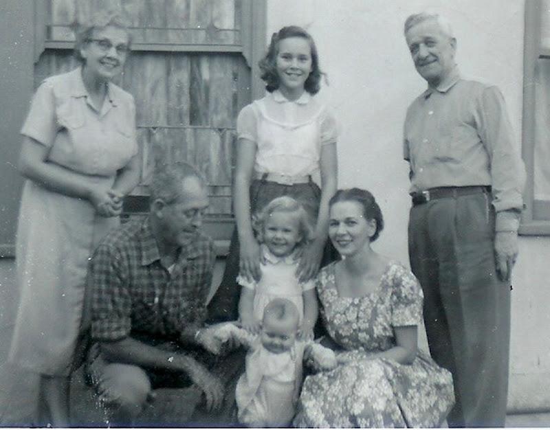 Backyard at 440 Atlantic Ave., Long Beach. Henrietta Boekman, Lee Caldwell, Francie Caldwell, Evelyn Caldwell, Stephen Caldwell, Dorothy Caldwell and August Boekma
