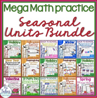 This bundle has everything you need to teach all of the math standards with seasonal themes added.