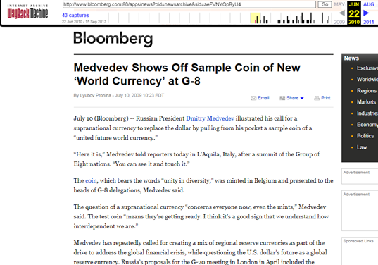 Bloomberg censors 'United Future World Currency'
