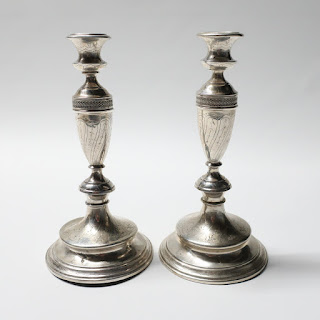 "10"" 800 Austrian Engraved Candlestick Pair"