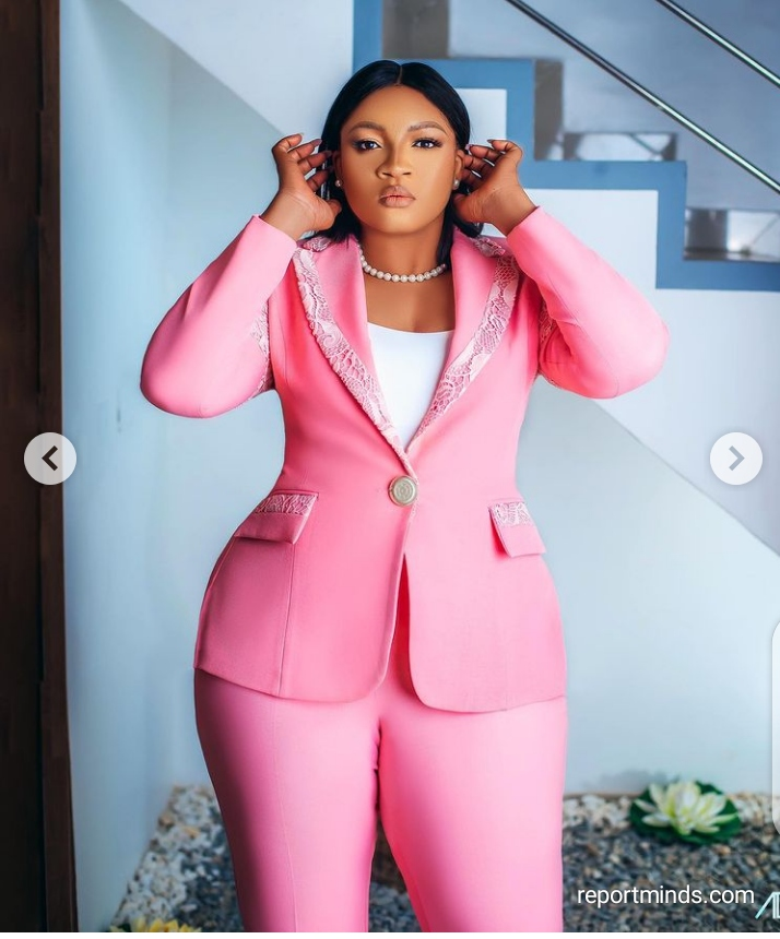 Actress Omotola Jalade-Ekeinde Looks Dapper In Her Pink Suits (Photos)