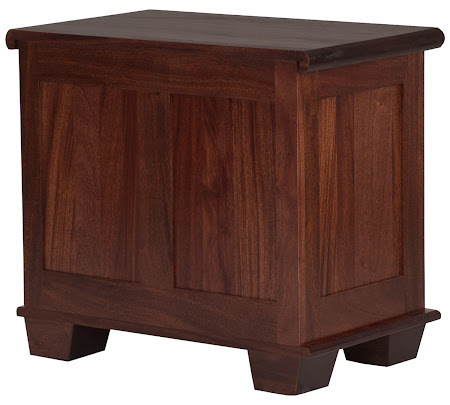 Monrovia Nightstand with Drawers, in Custom Mahogany (exotic hardwood), shown with Hardwood Rear Panel